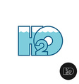 H2O letters water logo icon Water line surface vector image