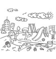 hand drawn children playground template vector image vector image
