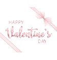happy valentines day design card with ribbon vector image vector image