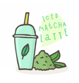 Iced matcha latte Plastic cup and tea powder vector image vector image
