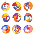 isolated abstract colorful pie chart logos set vector image vector image