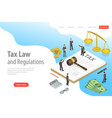 isometric flat landing page template of tax vector image