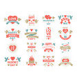 labels and symbols of loves st valentine day vector image vector image