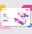 landing page template of blog writer concept vector image vector image
