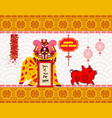 lion dancing head and chinese new year 2019 with vector image