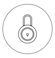 lock icon black color in circle isolated vector image vector image