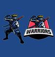 ninja warrior mascot stance pose vector image vector image