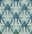 Octopus seamless pattern background green kraken vector image vector image