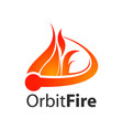 orbit fire logo concept design symbol graphic vector image vector image