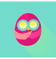 Pink flat owl over mint vector image vector image