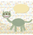 Polka dot background pattern Funny cute dinosaur vector image
