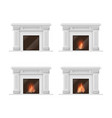 realistic detailed 3d classic fireplace set vector image