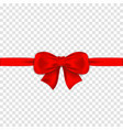 red bow with ribbons on transparent background vector image vector image