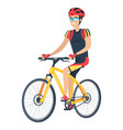 riding man with smile and bike vector image vector image