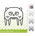 robot cat simple black line icon vector image