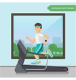 Runner men running on the treadmill in fitness vector image vector image