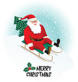 santa claus gives gifts on sledging vector image