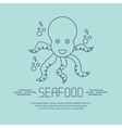 Seafood icon with octopus and bubbles vector image vector image