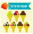 set of ice cream horns vector image