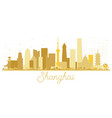 shanghai china city skyline golden silhouette vector image vector image