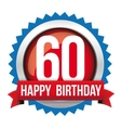Sixty years happy birthday badge ribbon vector image vector image