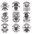 skull monochrome emblems vector image vector image