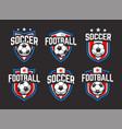 soccer emblems set vector image vector image