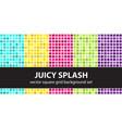 square pattern set juicy splash seamless tile vector image vector image