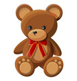 teddy bear with bow bear plush toy vector image vector image