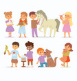 Toddler cartoon kids characters petting vector image