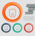 tooth icon on red blue green orange buttons vector image vector image