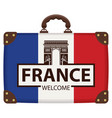 travel bag with french flag and triumphal arch vector image vector image