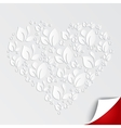 Valentines heart of paper leaves on white vector image vector image
