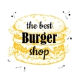 vintage burger label Hand drawn monochrome vector image vector image