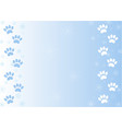 winter paw prints in the snow background vector image vector image