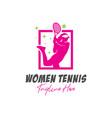 women tennis sports inspiration logo vector image vector image