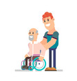 young boy and grandpa in a wheelchair vector image