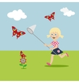 Little girl with a butterfly net in hand runs on a vector image