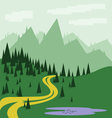 Abstract landscape with pine trees vector image