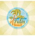 Summer palm beach retro background vector image
