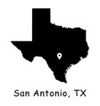 1288 san antonio tx on texas state map vector image vector image