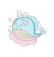 adorable blue baby whale pink cloud on background vector image vector image