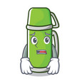 afraid thermos character cartoon style vector image vector image