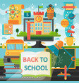 Back to school education banner with book bus