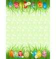 Background with coloured eggs in a grass vector image