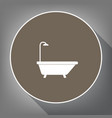 bathtub sign white icon on brown circle vector image