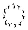 black and white silhouettes jumping happy and vector image