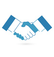 Blue handshake icon flat style vector image vector image