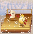 Boxing on the pillows vector image vector image