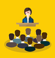 Business woman makes a speech on the podium vector image vector image